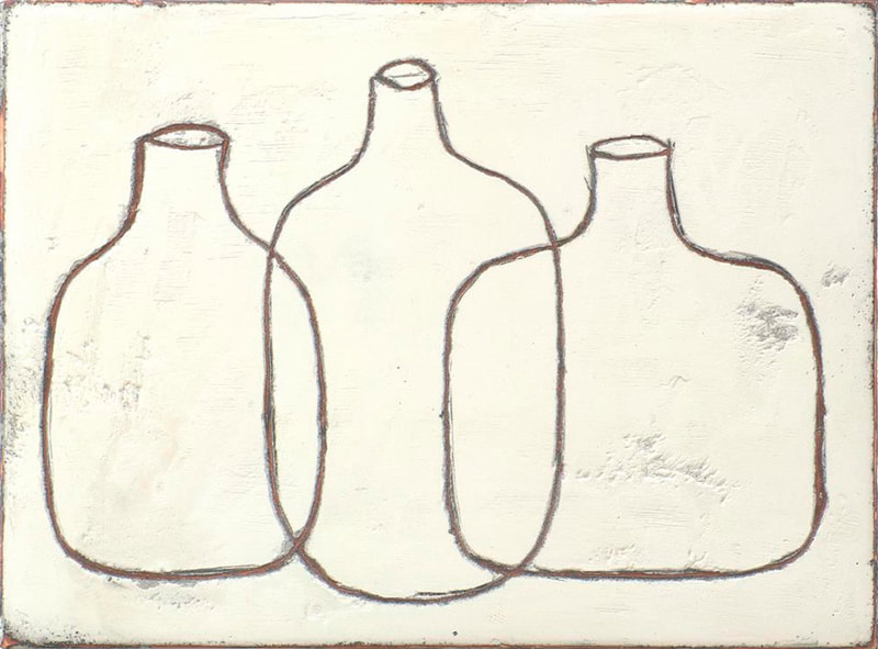 3 overlapping bottles on clay white landscape board