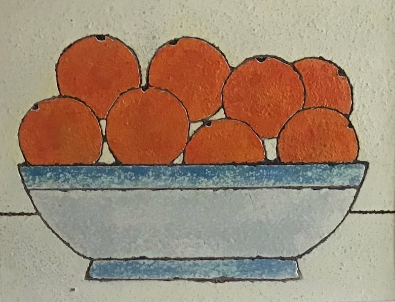 Textured Mixed Media painting on board of oranges in a blue bowl