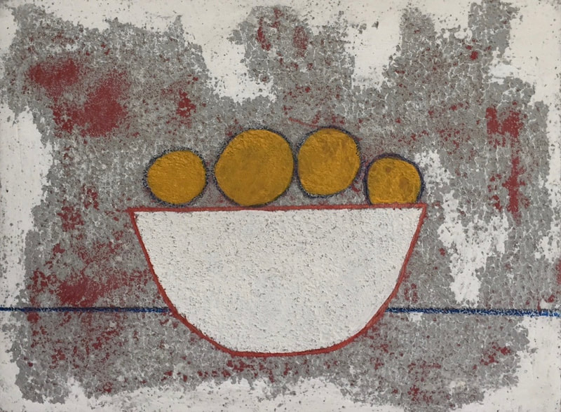 textured mixed media painting of 'white bowl' with deep yellow fruits