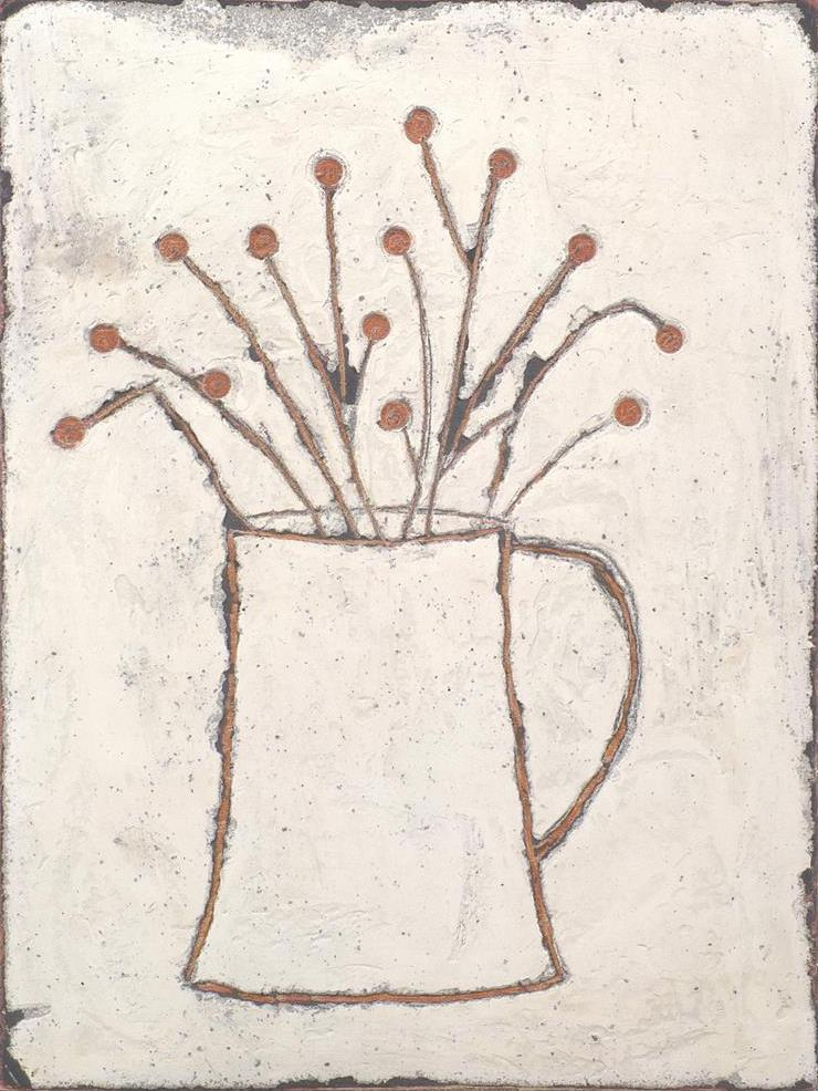 Textured mixed media painting on board of white jug with cherry stalk flowers
